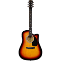 Squier SA-105CE Dreadnought Cutaway Stained Hardwood Fingerboard Sunburst