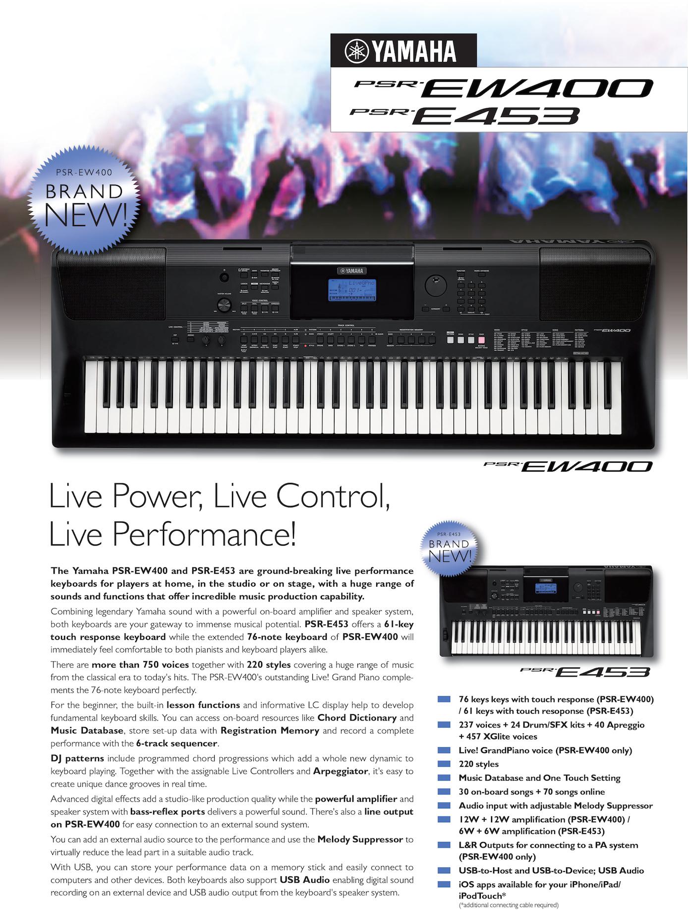 Yamaha Psr E453 Keyboard Bij Leo Caerts Ew400